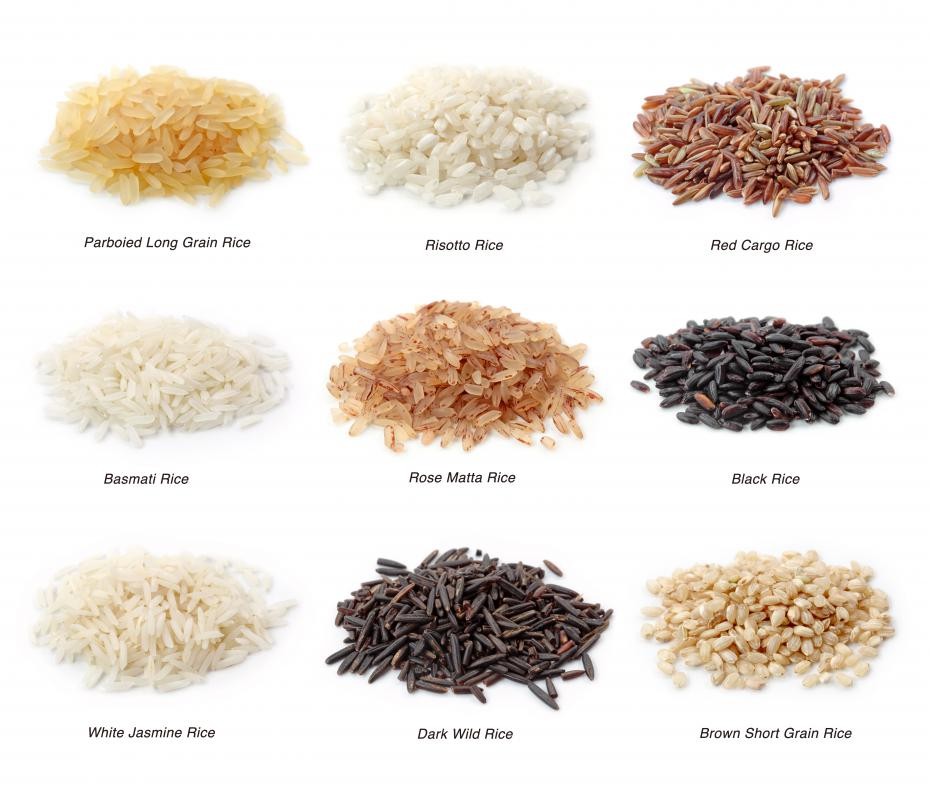 Different types of rice, including risotto rice.