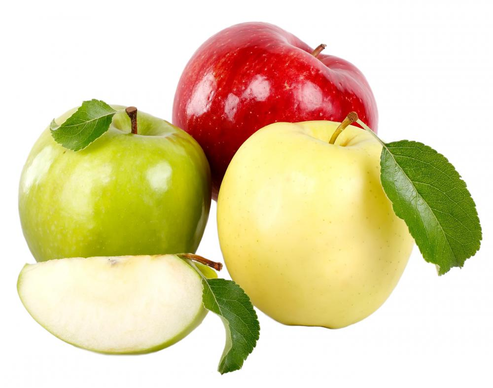 Green, red, and yellow apples.