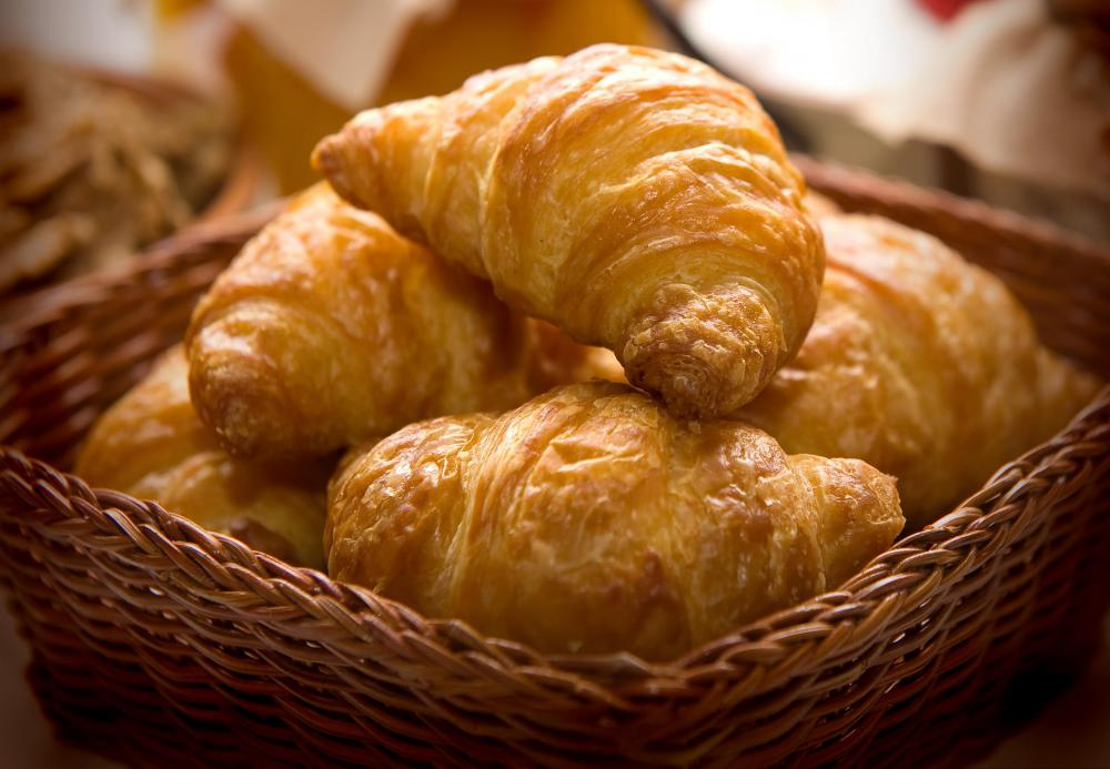 Croissants might be offered at a continental breakfast.