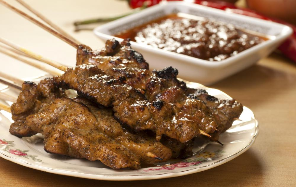 Beef Satay is often served with a peanut sauce.