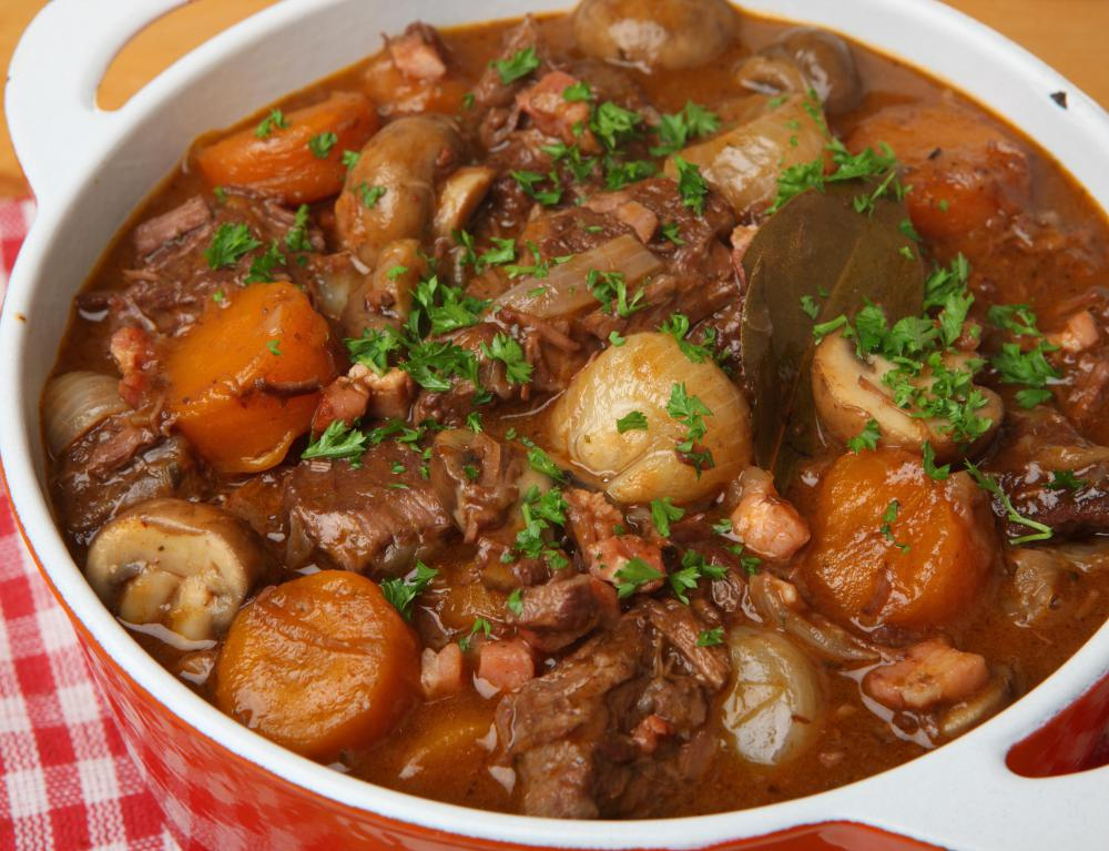 Braised beef is often added to stew, along with onions, tomatoes and other vegetables.