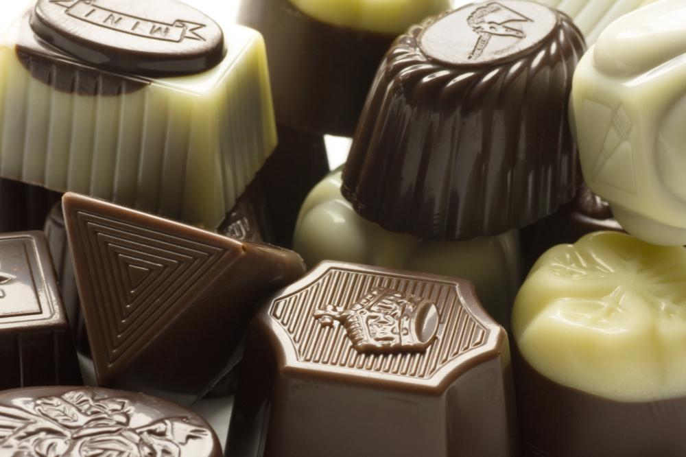 A selection of dark, milk, and white chocolate candies.