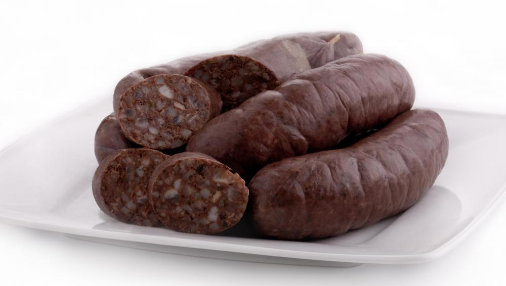 Blood pudding, which is sometimes served with Irish bacon.