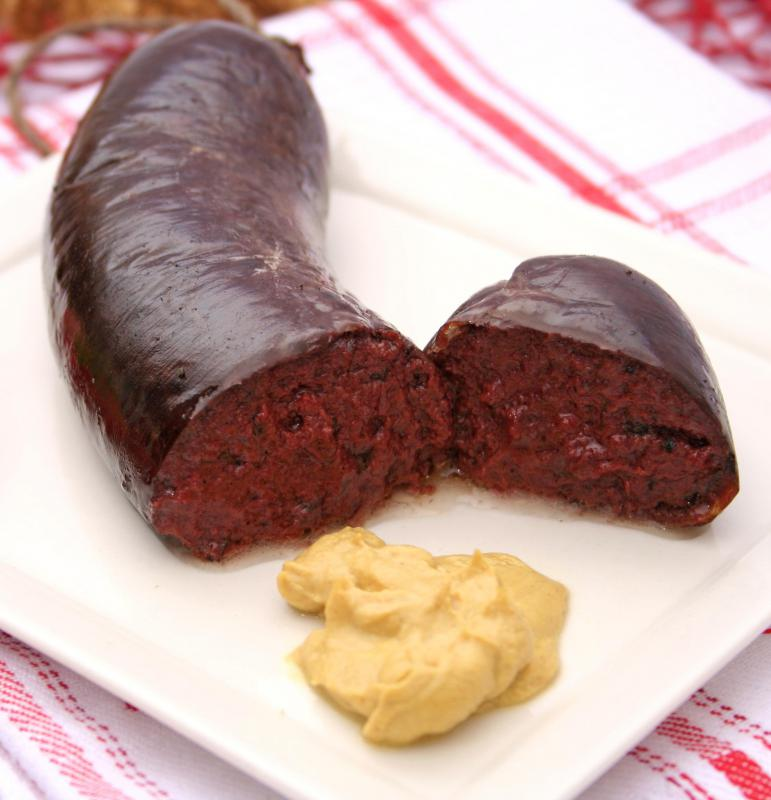 Blood sausage, which is often included in a Welsh breakfast.