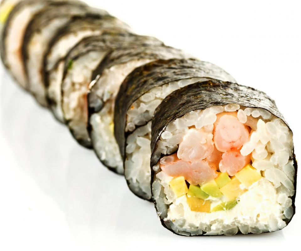 A Boston roll contains poached shrimp, avocado, and cucumber.