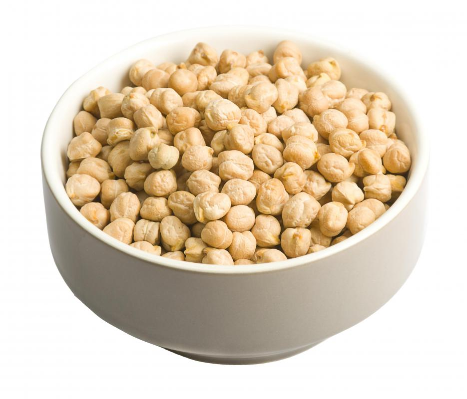 Dried chickpeas, which are used to make flour for besan.