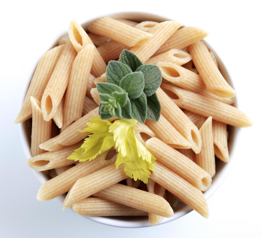 Whole-wheat penne pasta can be made using whole-wheat flour.