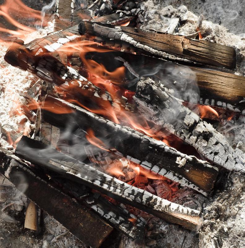 Banana boats are roasted over the coals of a campfire.
