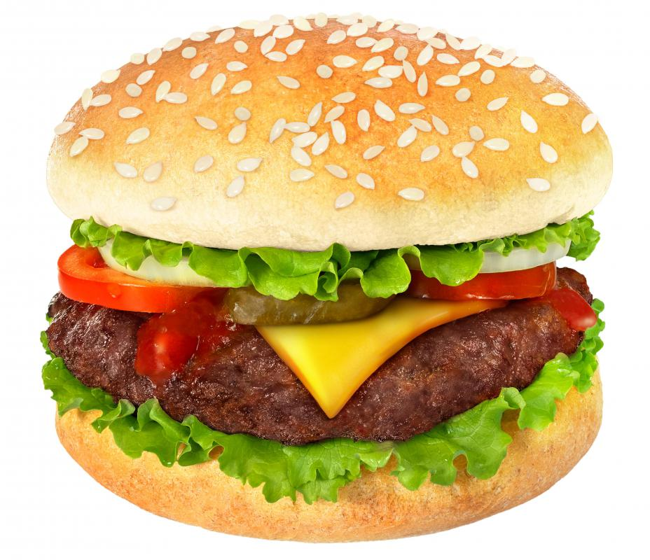 A cheeseburger made with ground beef.