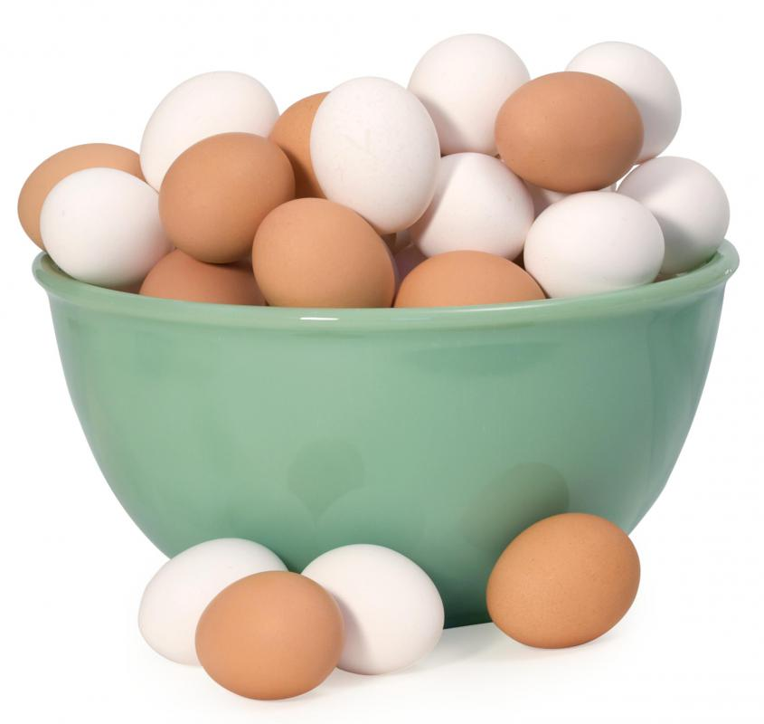 Brown and white chicken eggs.
