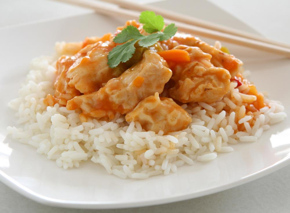 Chicken dish served on white rice.