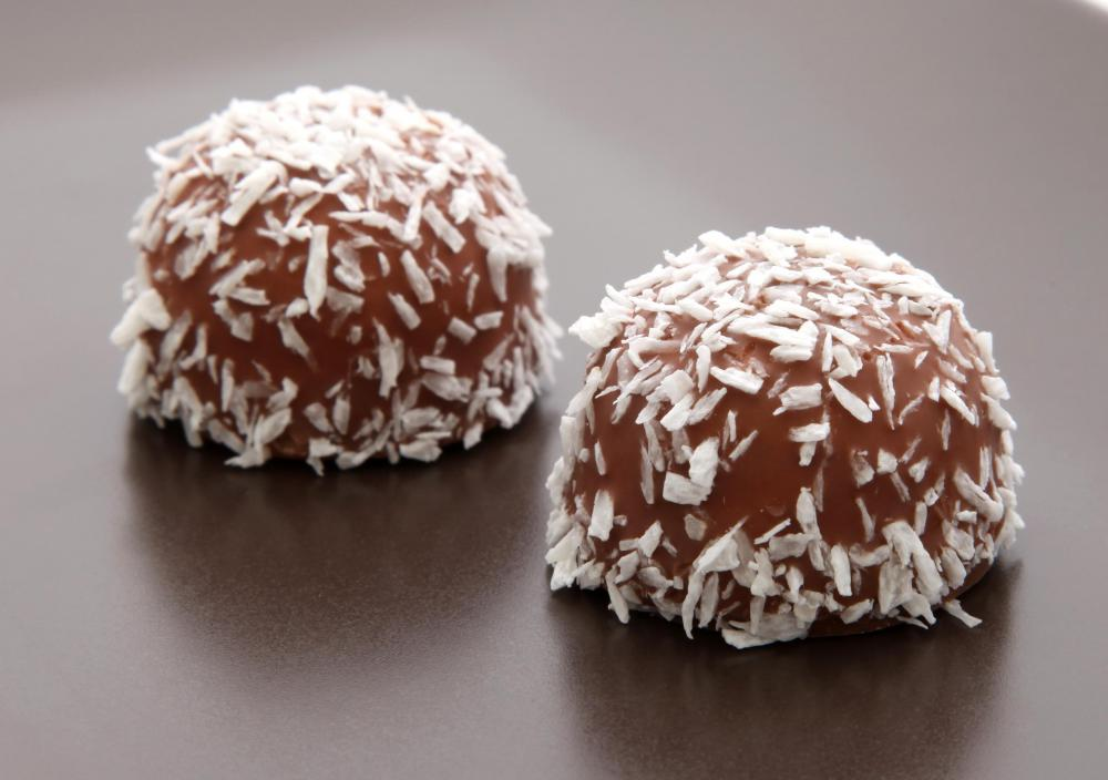 Coconut flakes on a coconut ball.