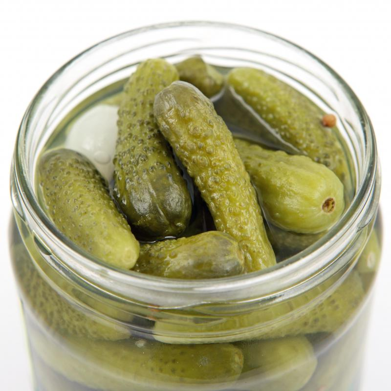 Cornichons in a jar.