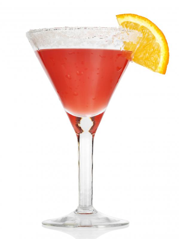 A Cosmopolitan is a cranberry, lime and Cointreau martini.