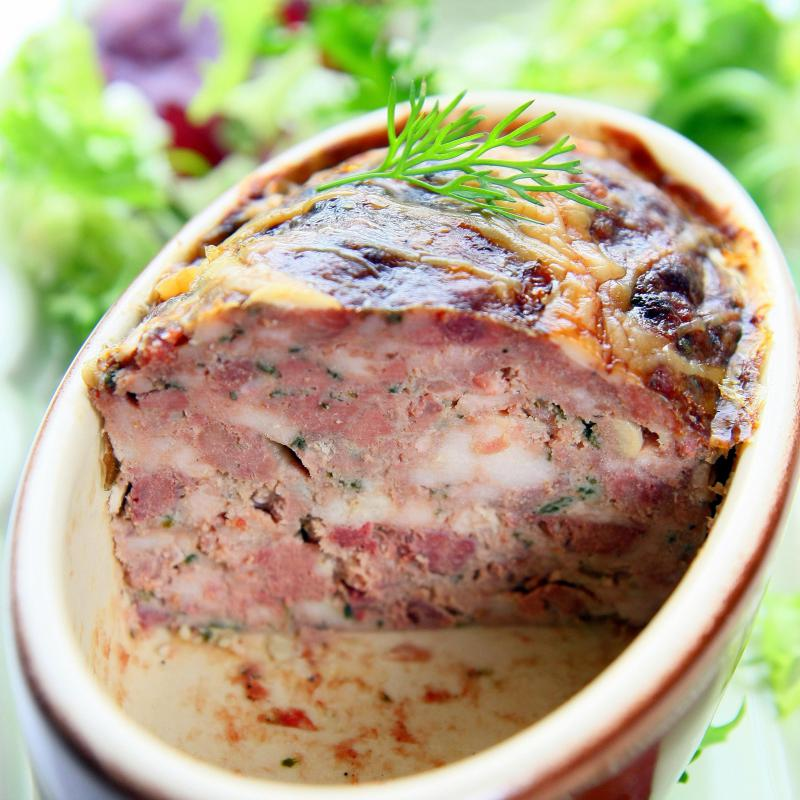 Terrine is a less common type of pork roulade.