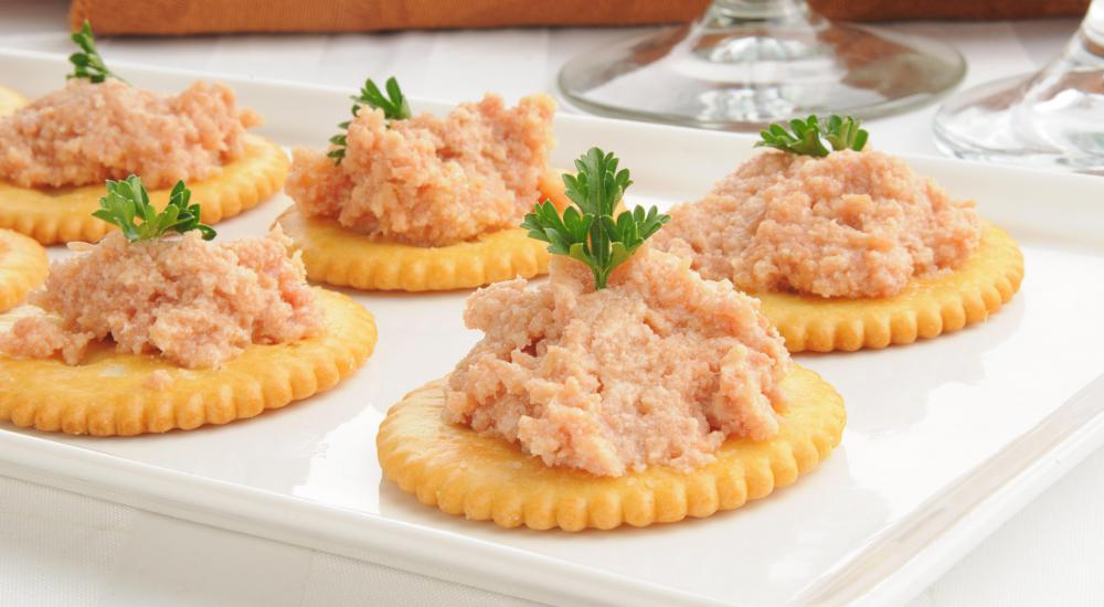 Meats may be added to crackers for an easy appetizer.