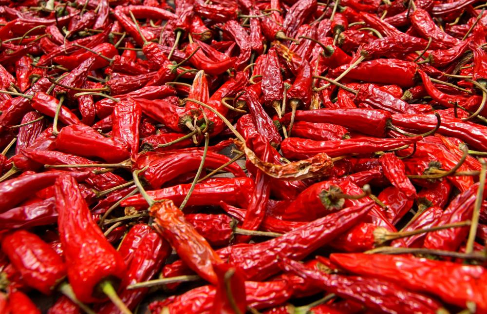 Dried chile peppers.
