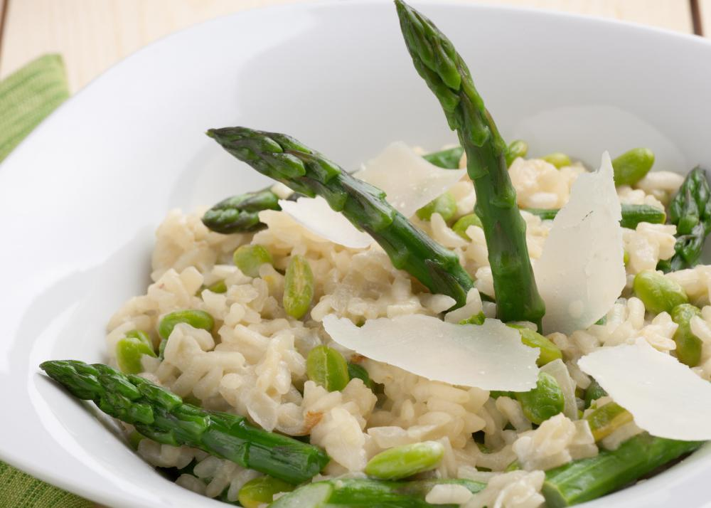 A risotto dish with edamame and asparagus.