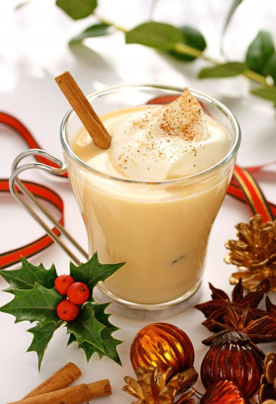 Nutmeg and cinnamon can be added to eggnog.