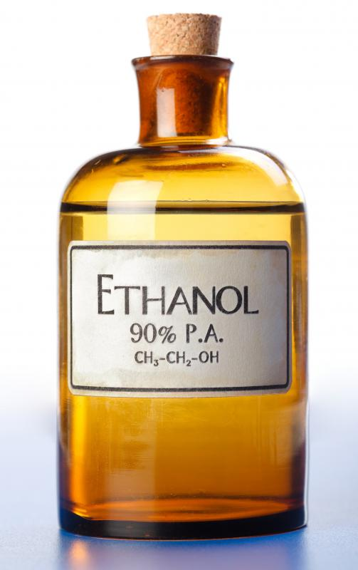 Grain alcohol, also called ethanol, can be used in alcoholic beverages or as a fuel, solvent, or antiseptic.
