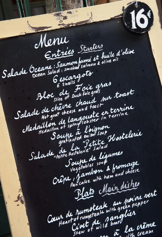 Traditional French dinners have up to seven courses and may last several hours.