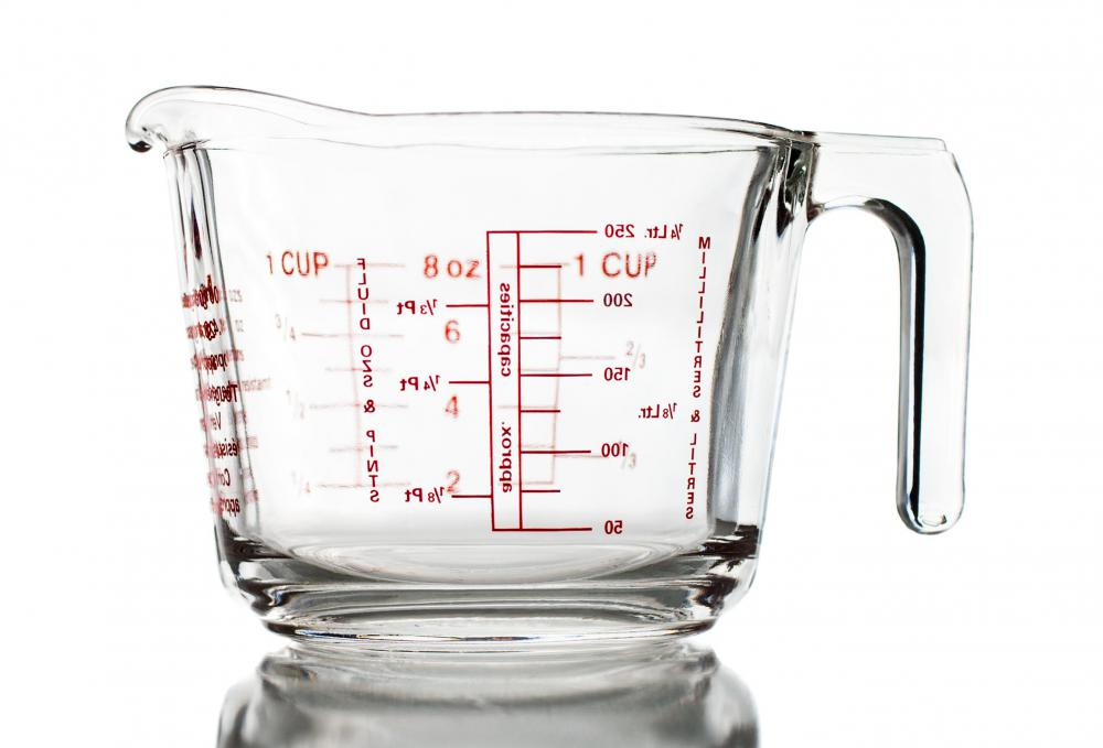 Many liquid measuring cups are made of glass.