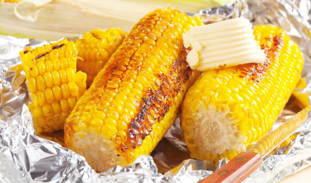 Corn can be grilled and eaten off the cob.