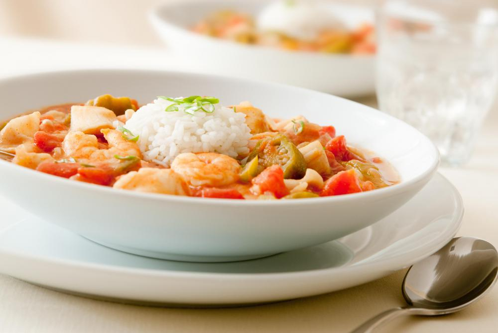 Gumbo might use dried shrimp rather than fresh shrimp.