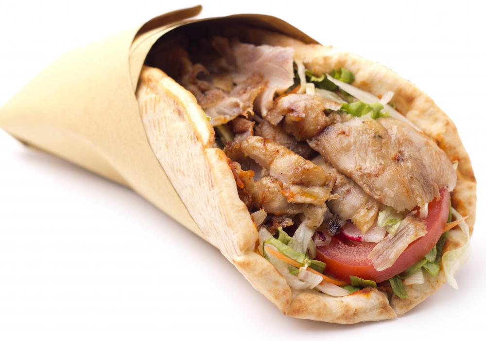 A gyro sandwich made with flatbread.