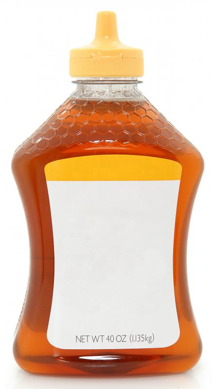 Clover honey in squeeze bottle.