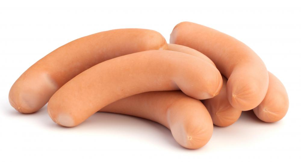 Hot dogs, also called franks.