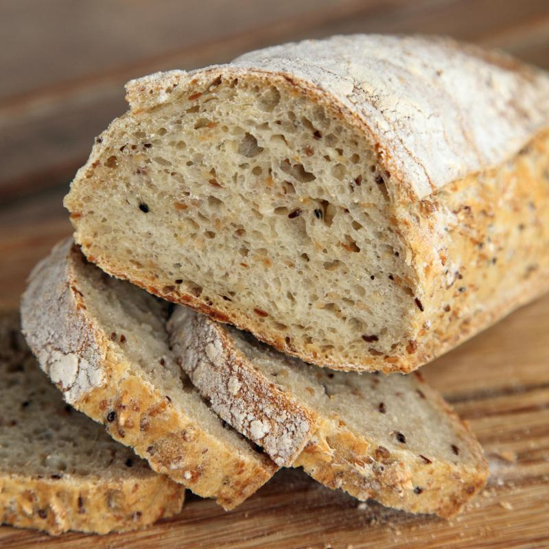 Artisan bread, which is served with tapenade.