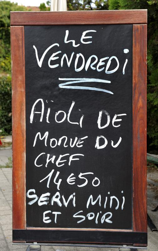 Sandwich boards outside a bistro may advertise the day's specials.