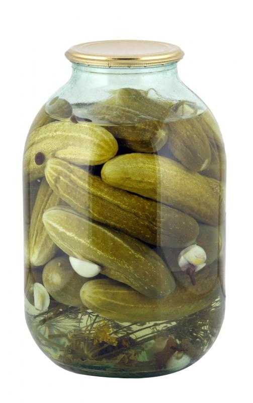 A jar of kosher pickles.