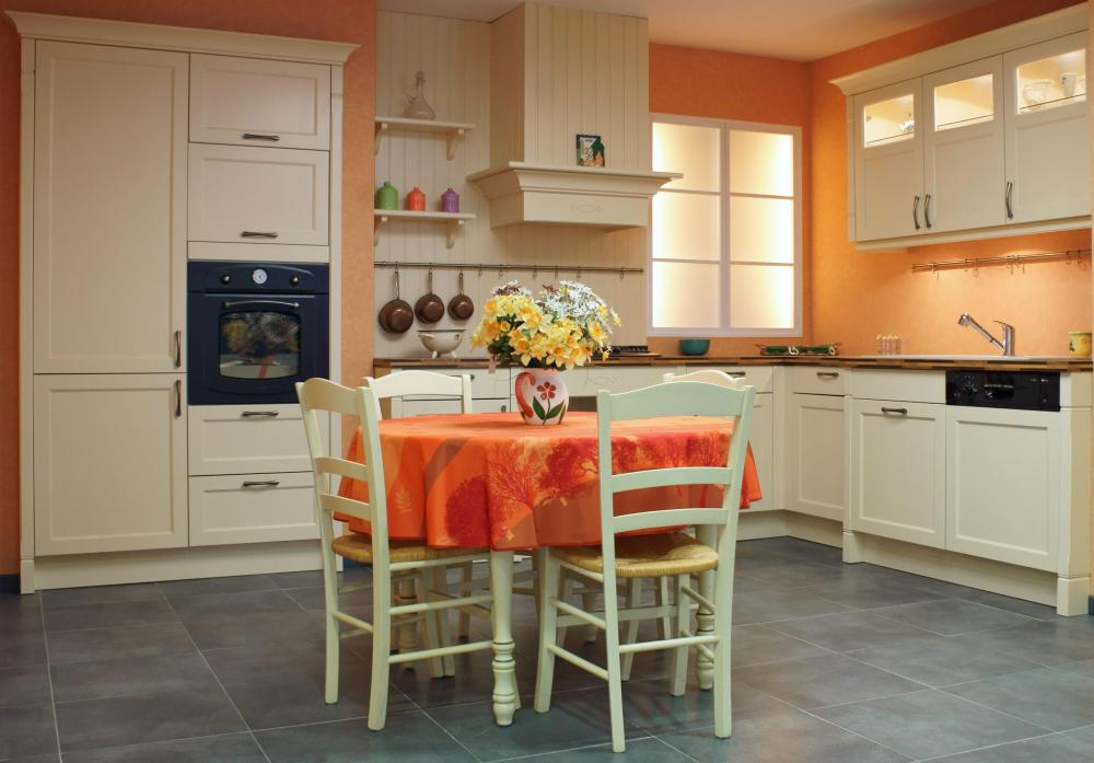An eat-in kitchen has space to accommodate a kitchen table.