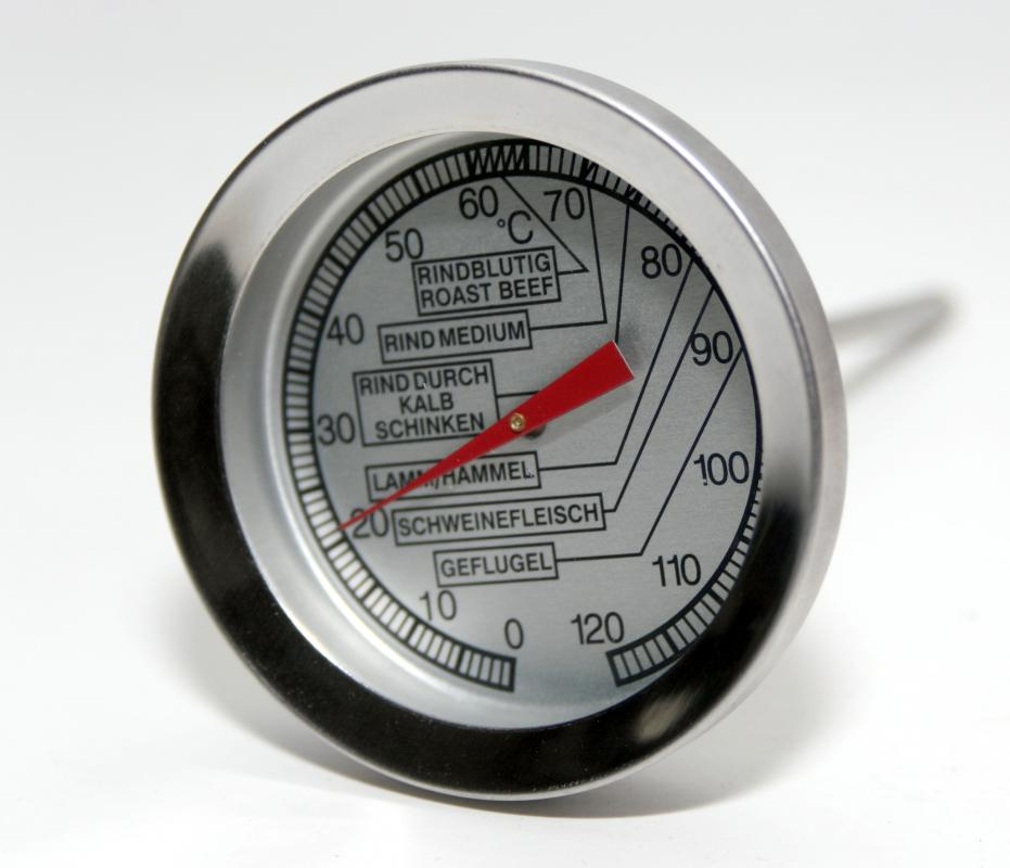 Using a meat thermometer will help a cook ensure that meat is cooked at the proper temperature.