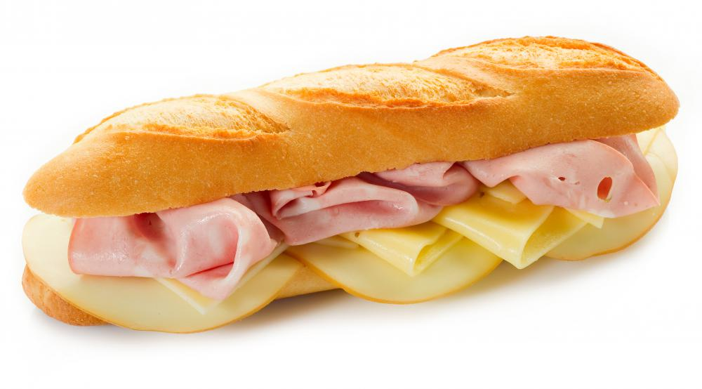 Mortadella sandwich with cheese.