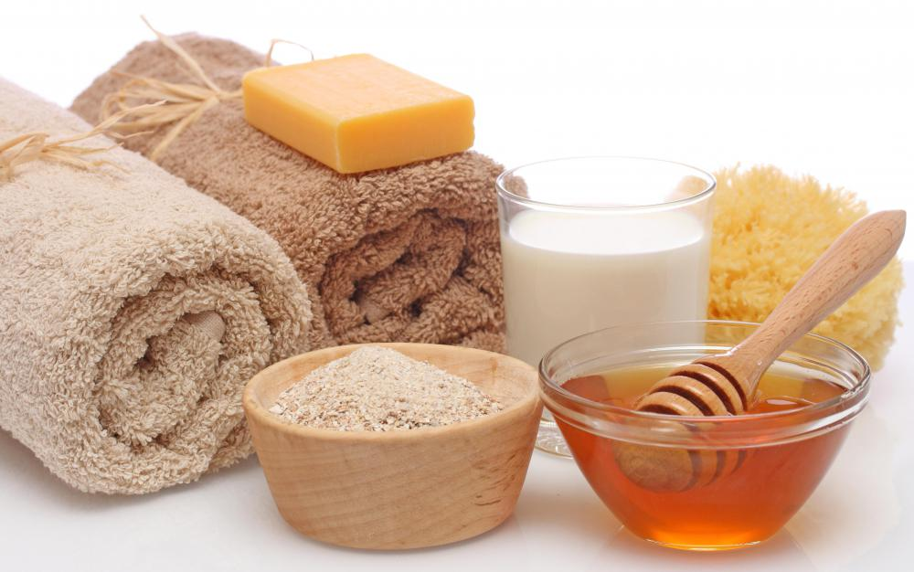 Adding oatmeal to a bath helps soothe and moisturize skin.