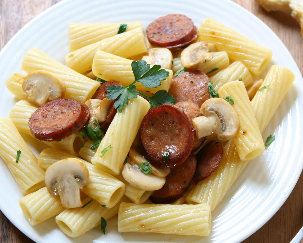 Pasta with sausage and mushrooms.