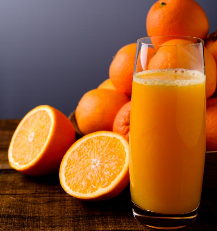 Orange juice is commonly served with a continental breakfast.