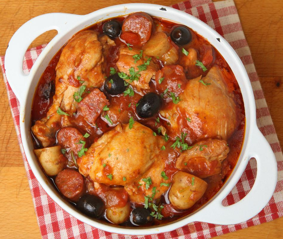 Rustic French chicken stew with potatoes and black olives.