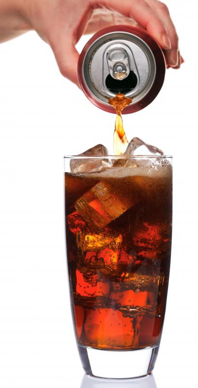 A glass of diet soda containing aspartame.