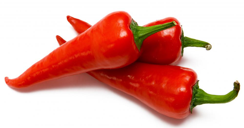 Red peppers, which can be very hot, contain capsaicin.