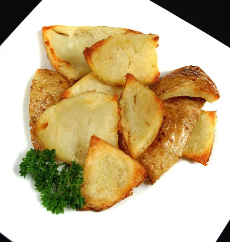 Roasted yellow potatoes.