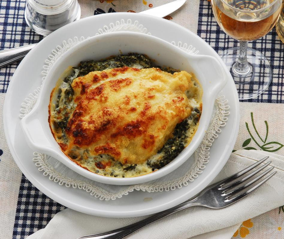 Baked hake and vegetables with a rich mornay sauce.