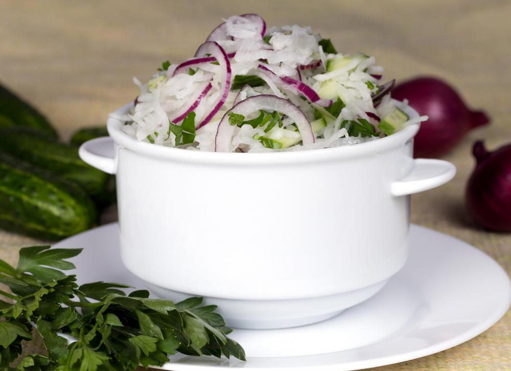 Raw mooli is used in fresh salads.