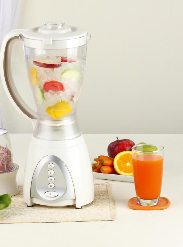 Smoothie blenders mix ice, fruits, and juices together to make a smoothie.
