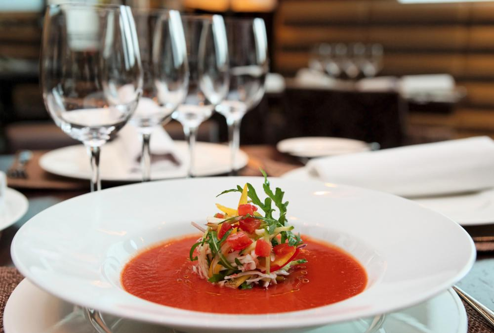 Soup may feature tomato puree for taste and thickness purposes.