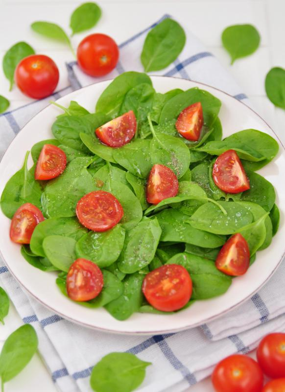 Spinach may be served in salads.