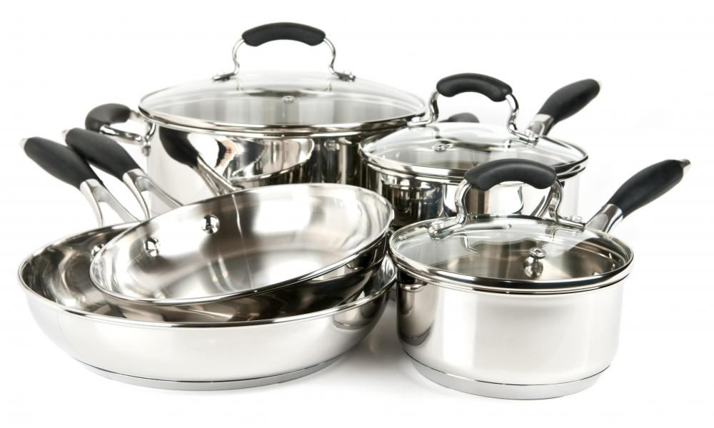 Stainless steel pots and pans.